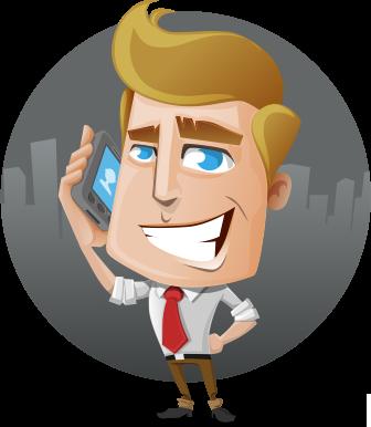 Personnage dessin animé avec un téléphone